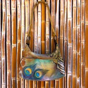 ANUSCHKA Handpainted Leather Designer Shoulder Bag
